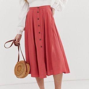 ASOS DESIGN Petite button front midi pleated skirt